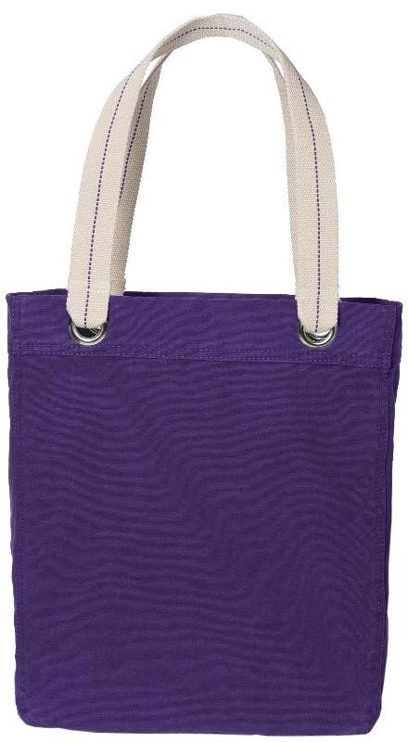100% Garment Washed Cotton Canvas Colorful Allie Stylish Fancy Daily Tote Bag (PACK OF 8, Purple)