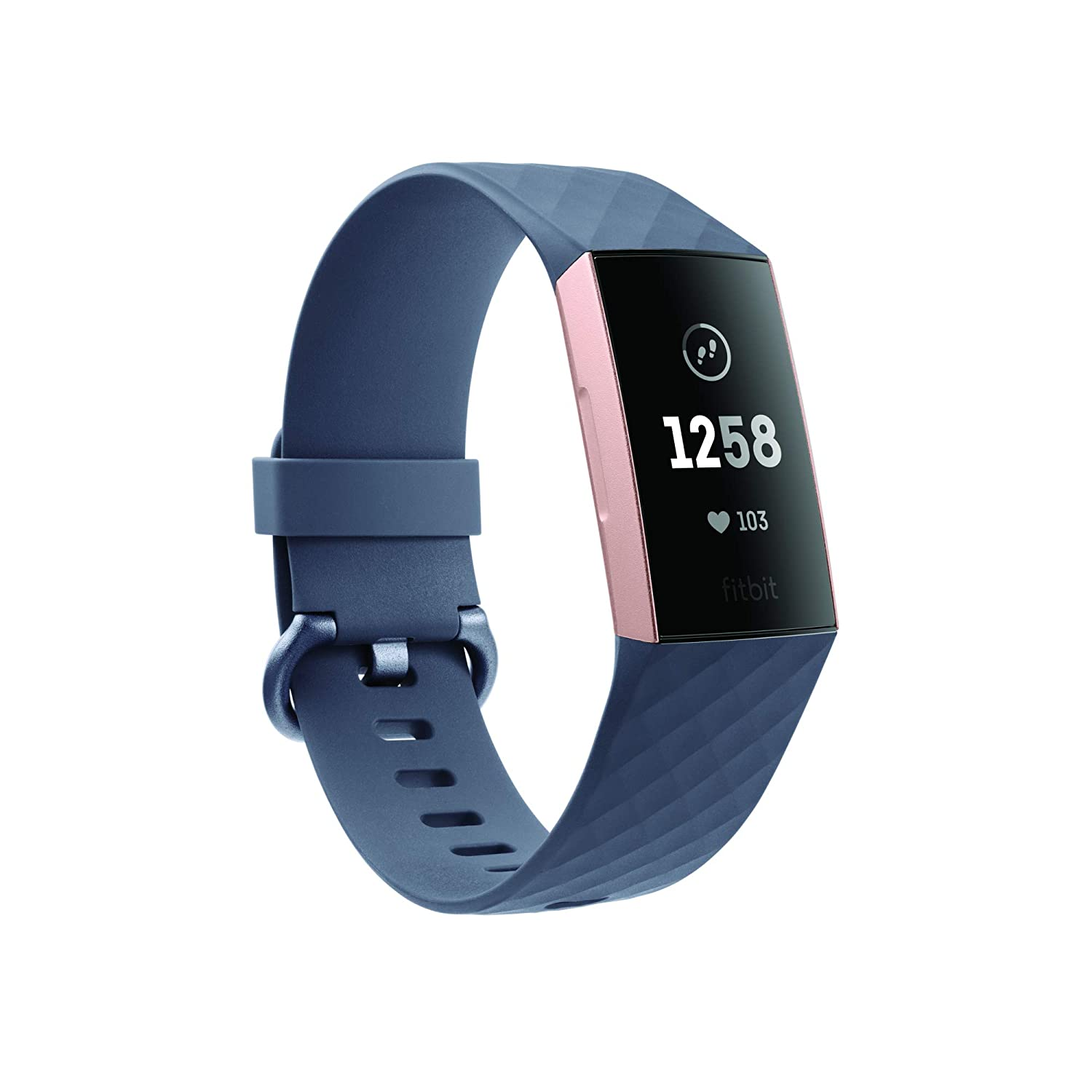 Fitbit Charge 3 Fitness Activity Tracker (Rose Gold And Blue