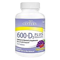 21st Century Calcium 600 mg +D Plus Minerals Chewable Tablets, 75 Count
