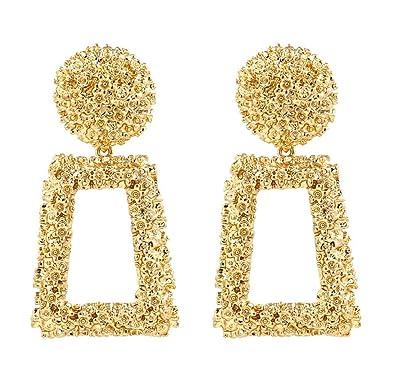 ATIMIGO Statement Drop Earrings Large Metal Crystal Geometric Dangle  Earrings Silver/Gold for Women Girls