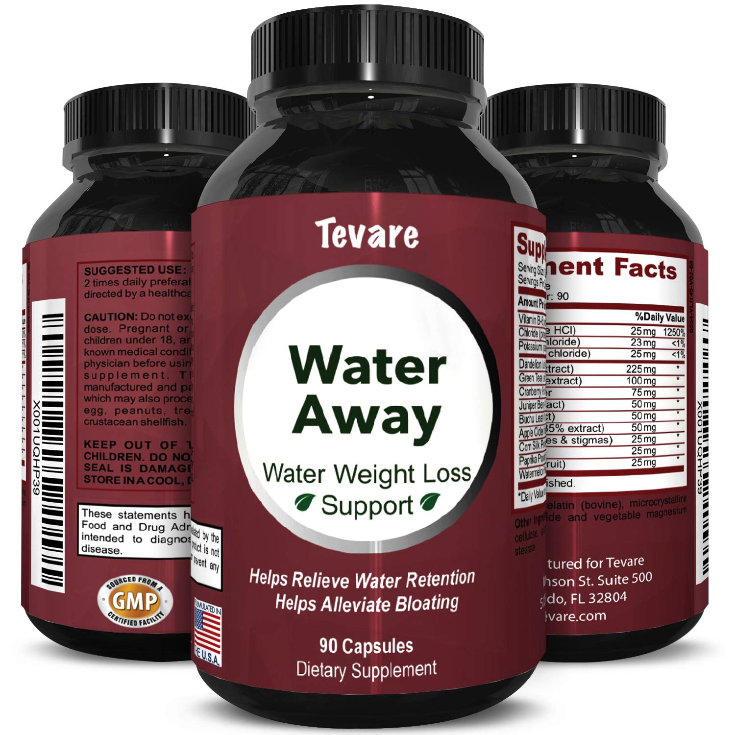 Water Away Diuretic Pills - Natural Water Weight Loss Support for Men and Women Fast Acting Bloating Swelling Relief Supplement - Pure Vitamin B6 Dandelion Green Tea Extract 90 Capsules by Tevare by Tevare