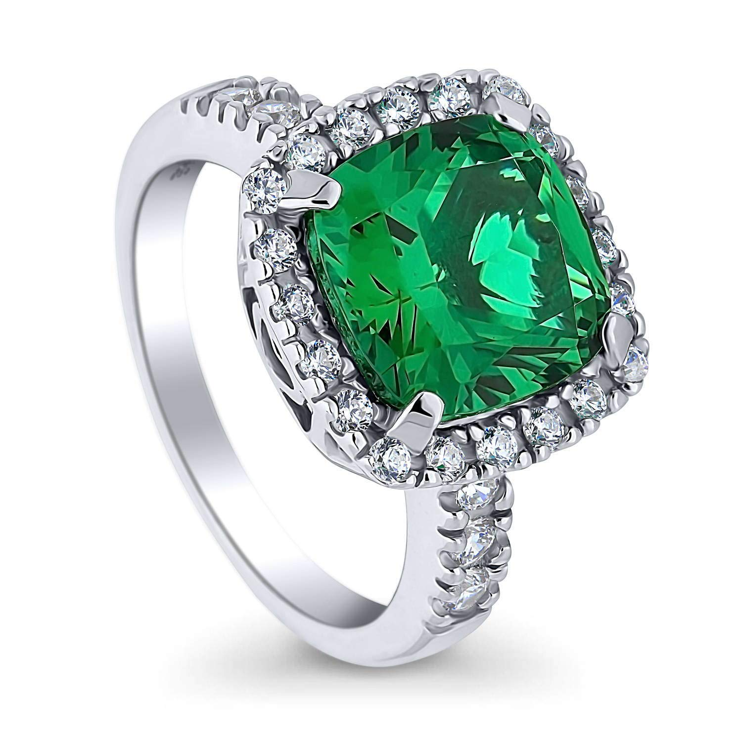 BERRICLE Rhodium Plated Sterling Silver Green Cushion Cut Cubic Zirconia CZ Statement Halo Cocktail Fashion Right Hand Ring Size 5 by BERRICLE
