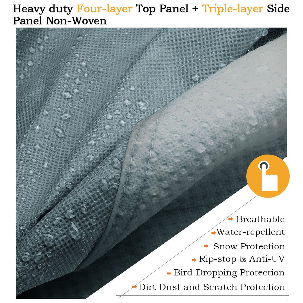 KING BIRD Extra-Thick 4-Ply Top Panel & 4Pcs Tire Covers Deluxe 5th Wheel RV Cover, Fits 29'-33' RV Cover -Breathable Water-Repellent Rip-Stop Anti-UV with Storage Bag (29'-33') by KING BIRD (Image #5)