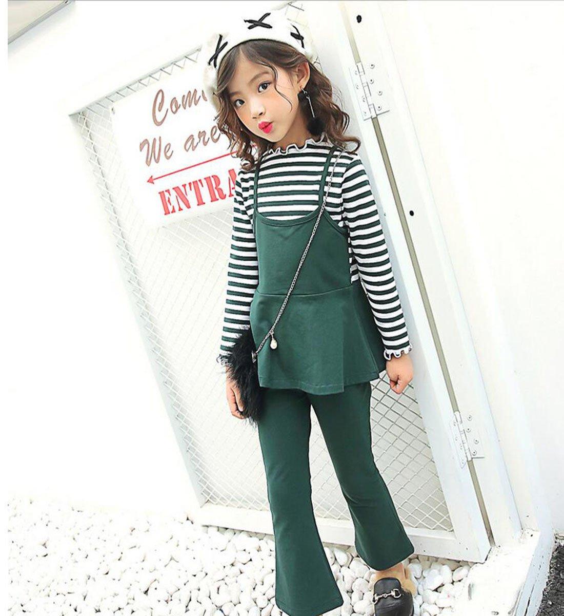 00ad524e4 nias piezas nuevo dos otoo manga larga conjunto de ropa de algodn color a  rayas trajes de dos piezas verde oscuro ef with ropa de otoo.