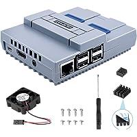 Quimat Raspberry Pi 3 B+ Funda, SNES Game Console Protection Case con Ventilador de Refrigeración, Caja de Destornillador y fregaderos de Calor para Raspberry Pi2B 3B 3B+