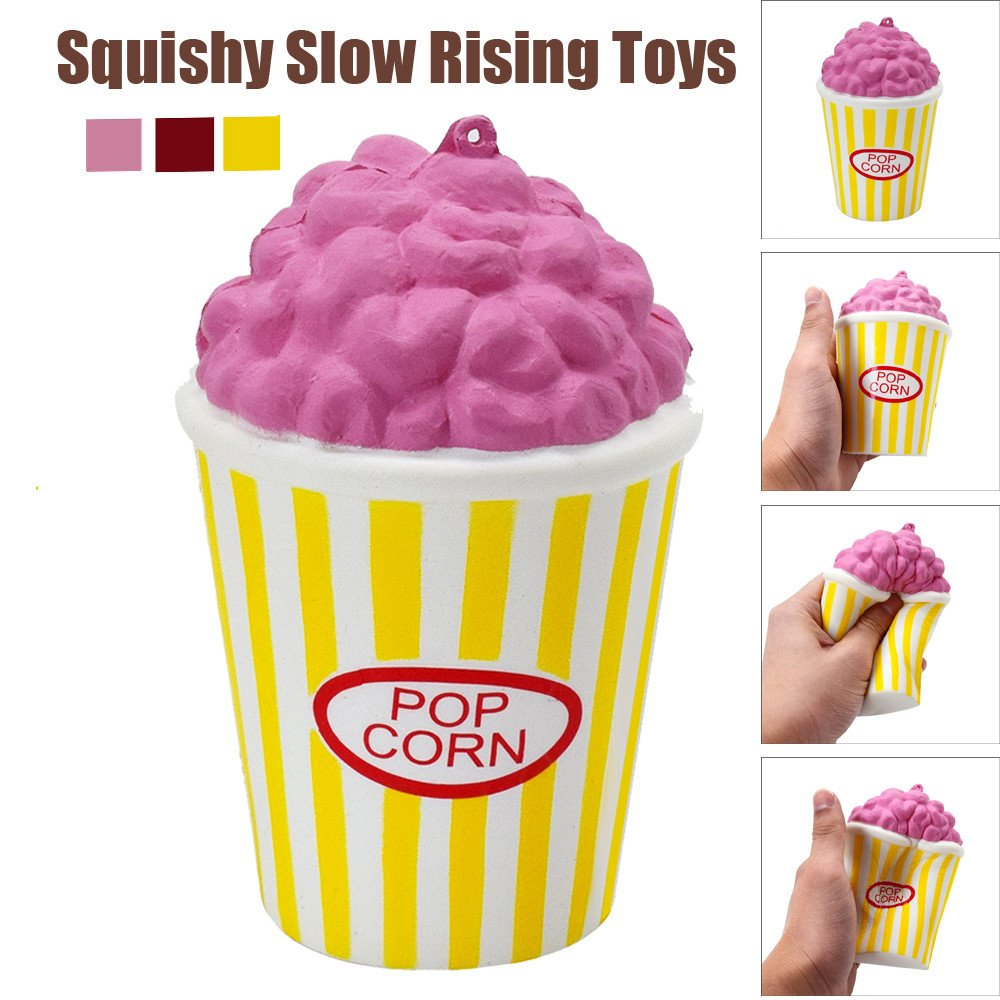 Jinjin Squeeze Popcorn Cup,Scented Squishies Very Slow Rising Kids Toys Doll Gift Fun Collection Stress Relief Toy Hop Props, Decorative Props Large (Red)