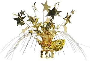 Beistle 1-Pack Star Gleam N Spray Centerpiece, 11-Inch, Gold