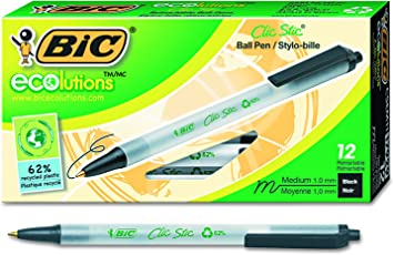 Bic ECOlutions - Bolígrafo retráctil (punta mediana, 1,0 mm), Retráctil, Negro, 12-Count