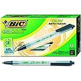 BIC ECOlutions Retractable Ball Pen, Medium Point (1.0 mm), Black, 12 Pens