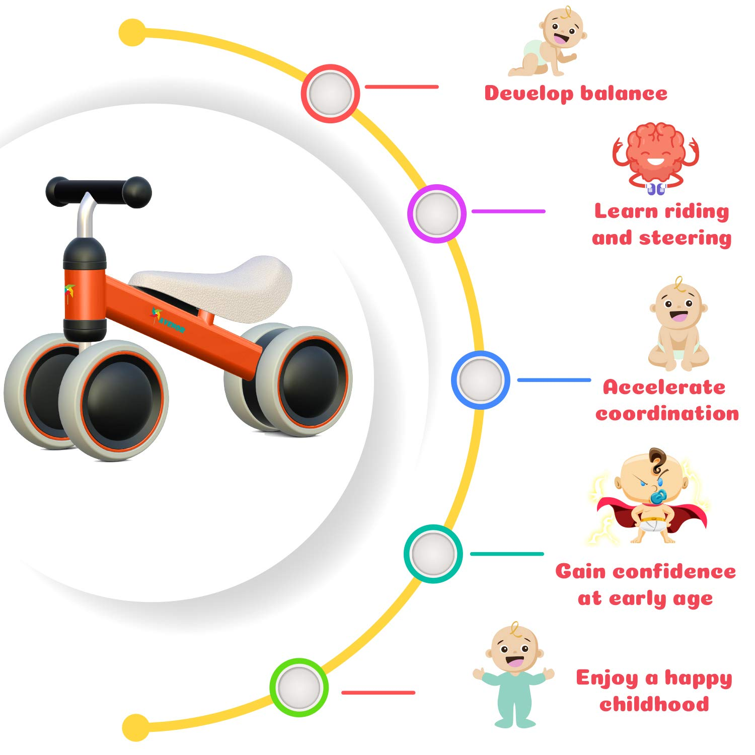 Avenor Baby Balance Bike - Baby Bicycle for 6-24 Months, Sturdy Balance Bike for 1 Year Old, Perfect as First Bike or Birthday Gift, Safe Riding Toys for 1 Year Old Boy Girl Ideal Baby Bike (Orange) by Avenor (Image #5)