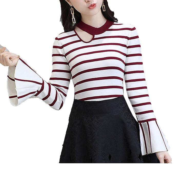 AINIMI Camisa De Pagoda De Raya Sexy Para Mujer Chompa Suelta De Jersey De  Punto Con Cuello Redondo Suéter Tops Multicolor 42cf4628ea45