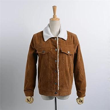 spyman Nice New women basic coats NEW lambs wool coat corduroy long sleeve turn down collar