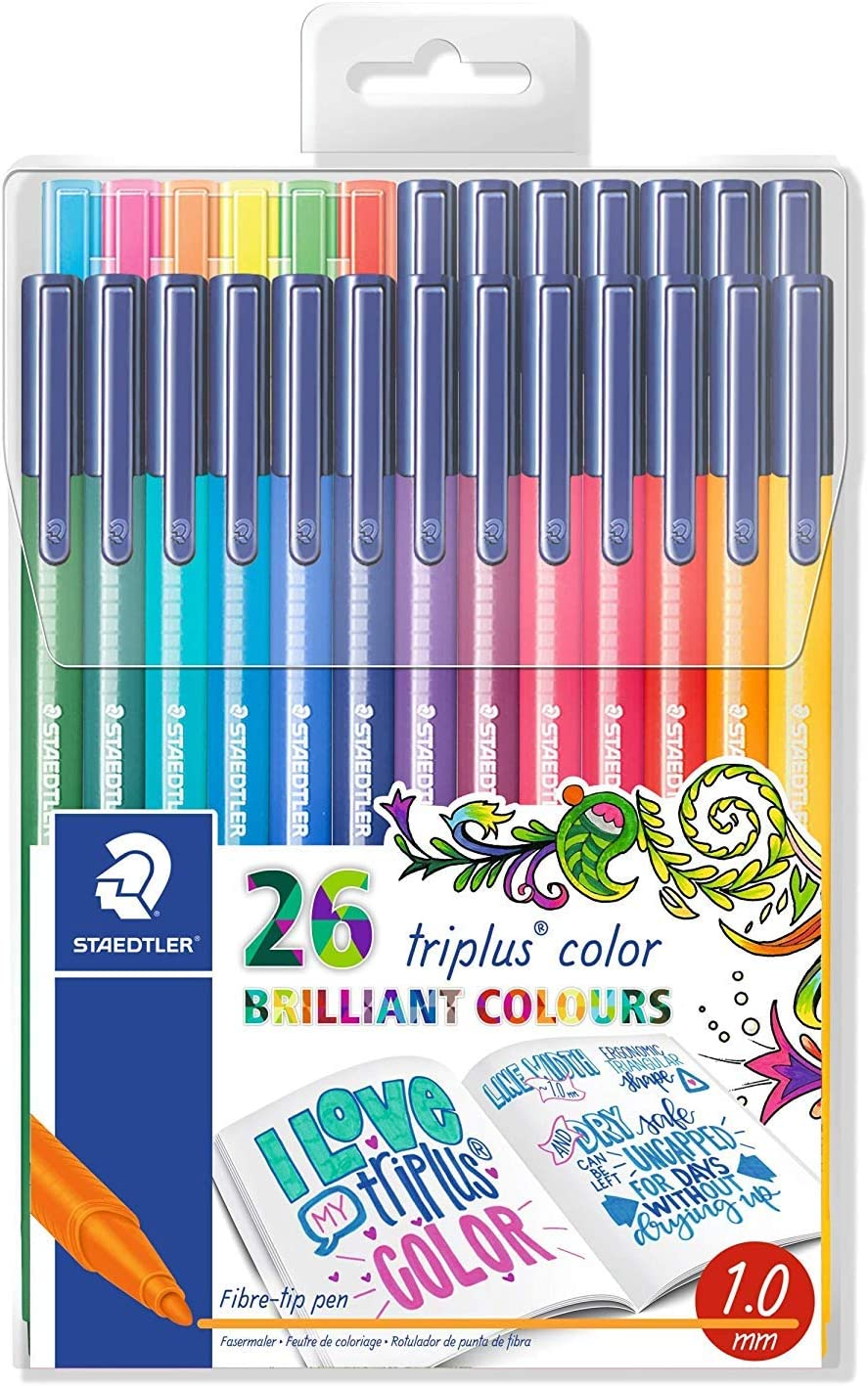 Staedtler323 TB26JB. Rotuladores de colores brillantes de punta fina multicolor Triplus Color, lavable, ergonómico, punta bloqueada. Edición Johanna Basford - Pack de 26 marcadores.