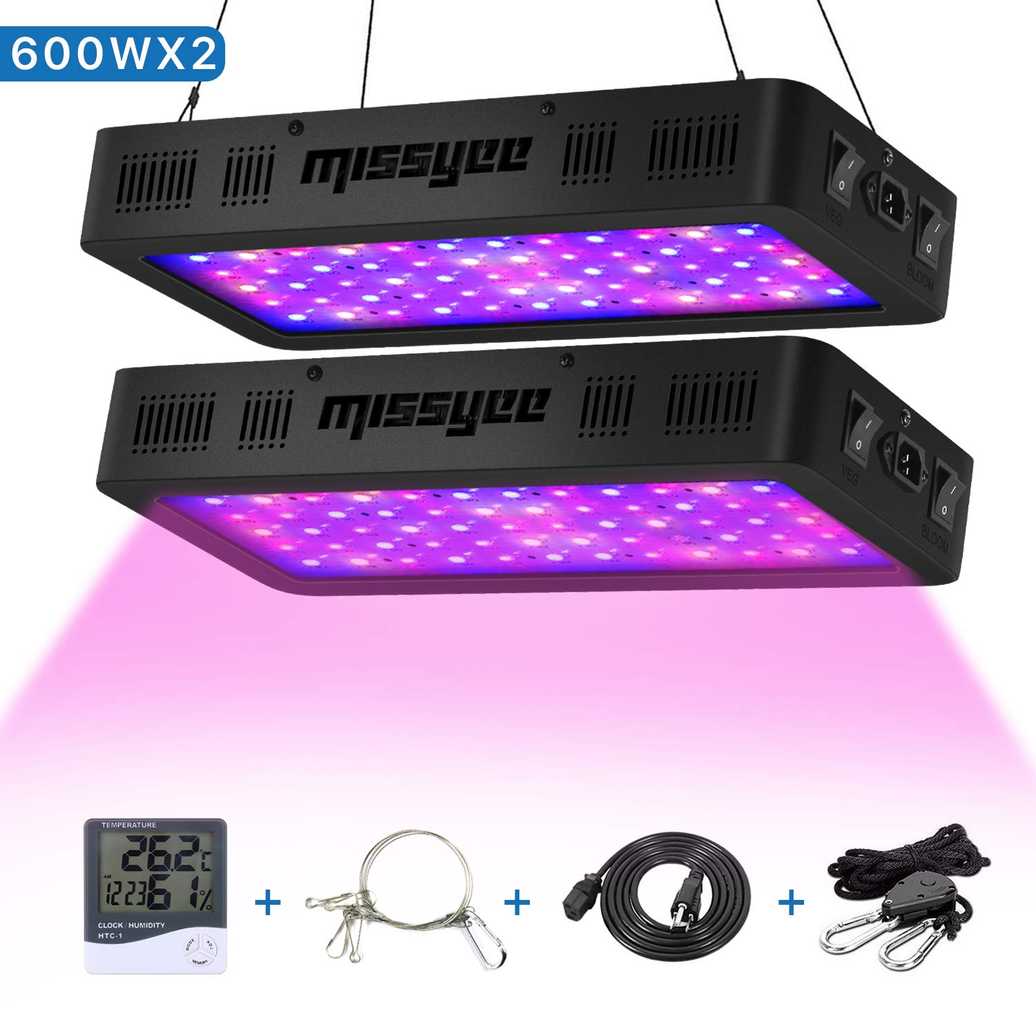 Plant Grow Light, Missyee 600W 2-Pack Full Spectrum LED Grow Light for Indoor Plant, Thermometer Humidity Monitor Adjustable Rope Double Switch Grow Lamps by Missyee