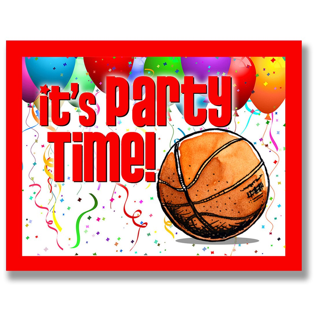 Amazon.com: BASKETBALL Party INVITATIONS (Red, 4.25\