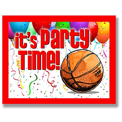 amazon com basketball party invitations red 4 25 x5 5 12 pack