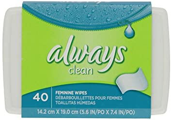 Always Clean Feminine Wipes Tub, 40 Count