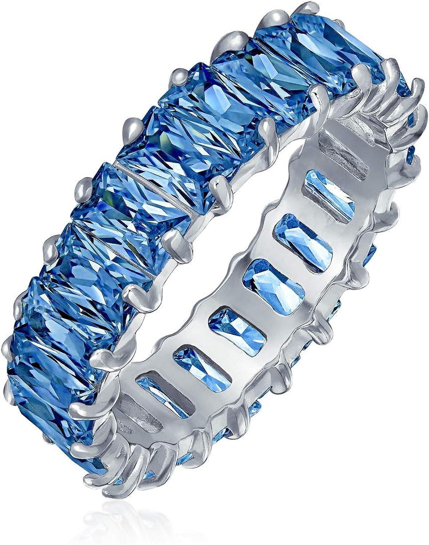 Art Deco estilo AAA CZ Esmeralda Corte Azul Simulado Zafiro Cubic Zirconia Eternidad Baguette Aniversario Alianza Alianza Anillo para Mujeres 925 Plata de Ley 4MM
