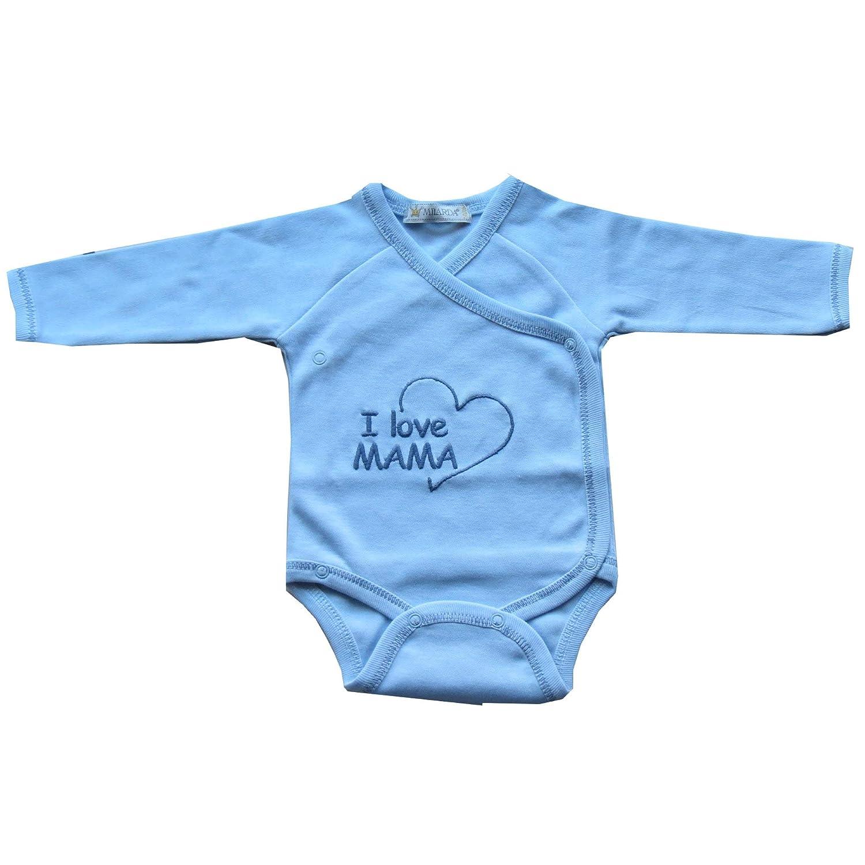 """Gr blau Milarda Baby Body Wickelbody /""""I love MAMA/"""" 50-74"""