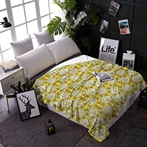 carmaxs Kids Blanket Yellow and White Print Blanket for Couch Bed Sofa Aquarium Fishes with Stripes on Floral Composition Background 60 x 80 Inches Marigold Beige Yellow