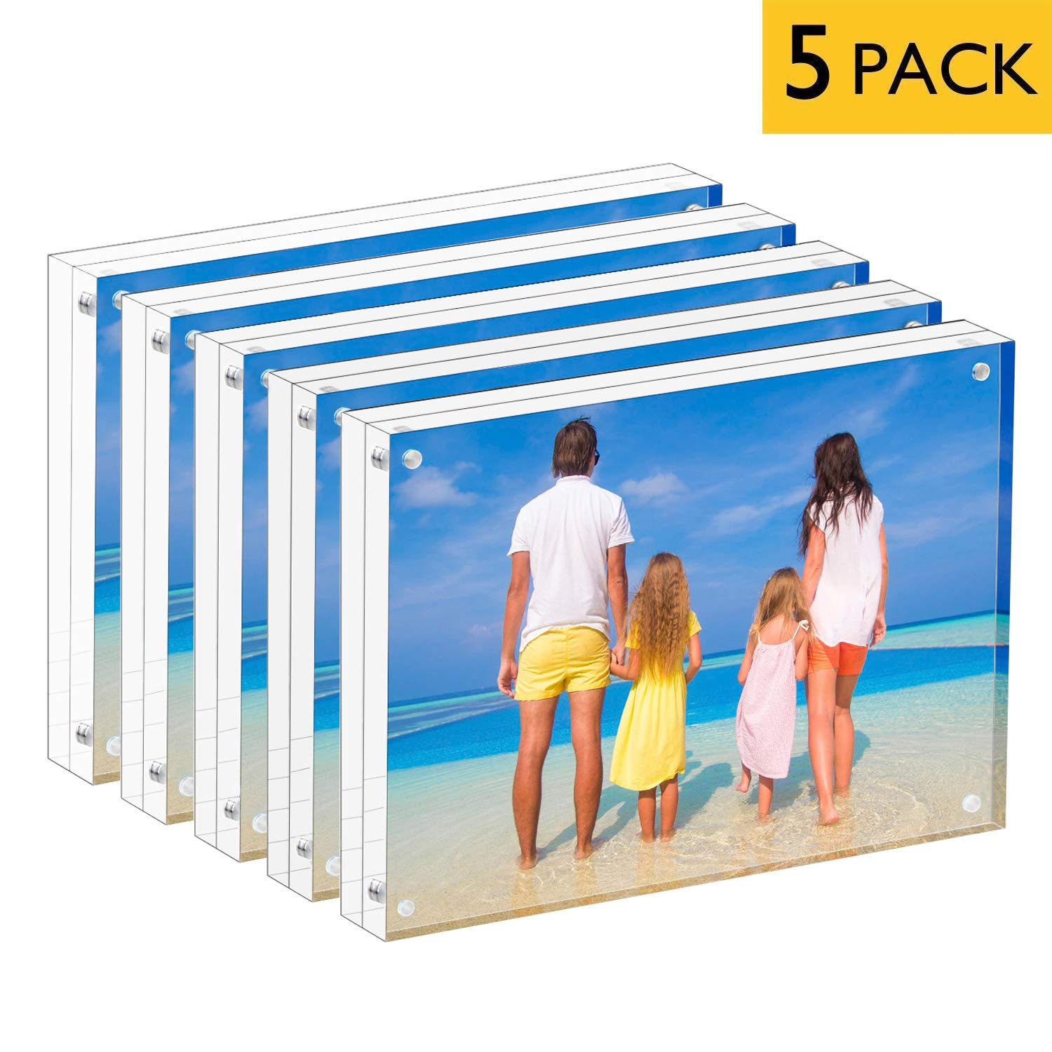 MeetU Acrylic 5x7 Picture Frame Two Sided Desk Photo Frame (5-Pack) Magnetic Frame Inner Size 4x6 with Gift Pack for Display Family Pictures Baby Photos Friends Pictures Pet Dog Picture