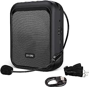 SHIDU amplificador de voz Altavoz Bluetooth portátil recargable con micrófono con cable Auriculares Sistema de PA de 10 W 1800 mAh Admite audio en formato MP3 para profesores, guía turístico
