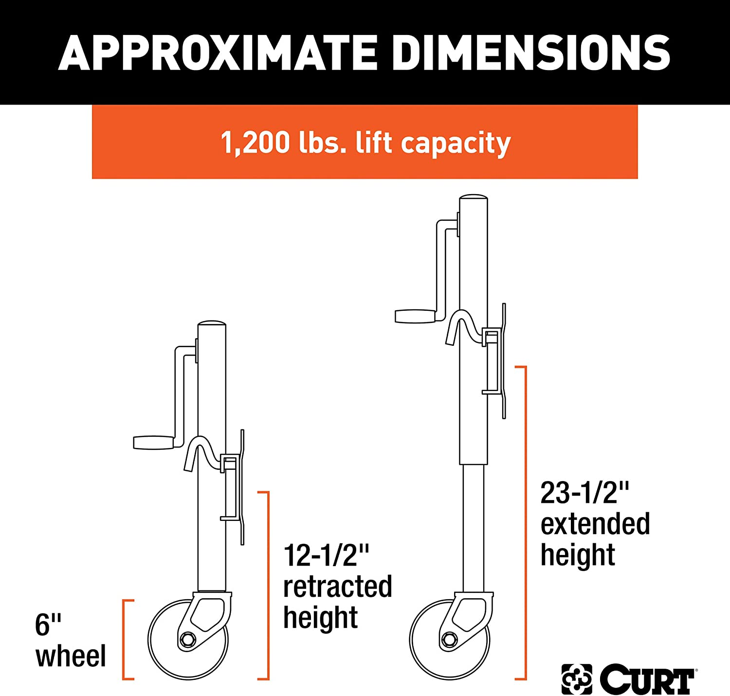 CURT 28112 Marine Boat Trailer Jack with 6-Inch Wheel, 1,200 lbs. 11 Inches Vertical Travel: Automotive