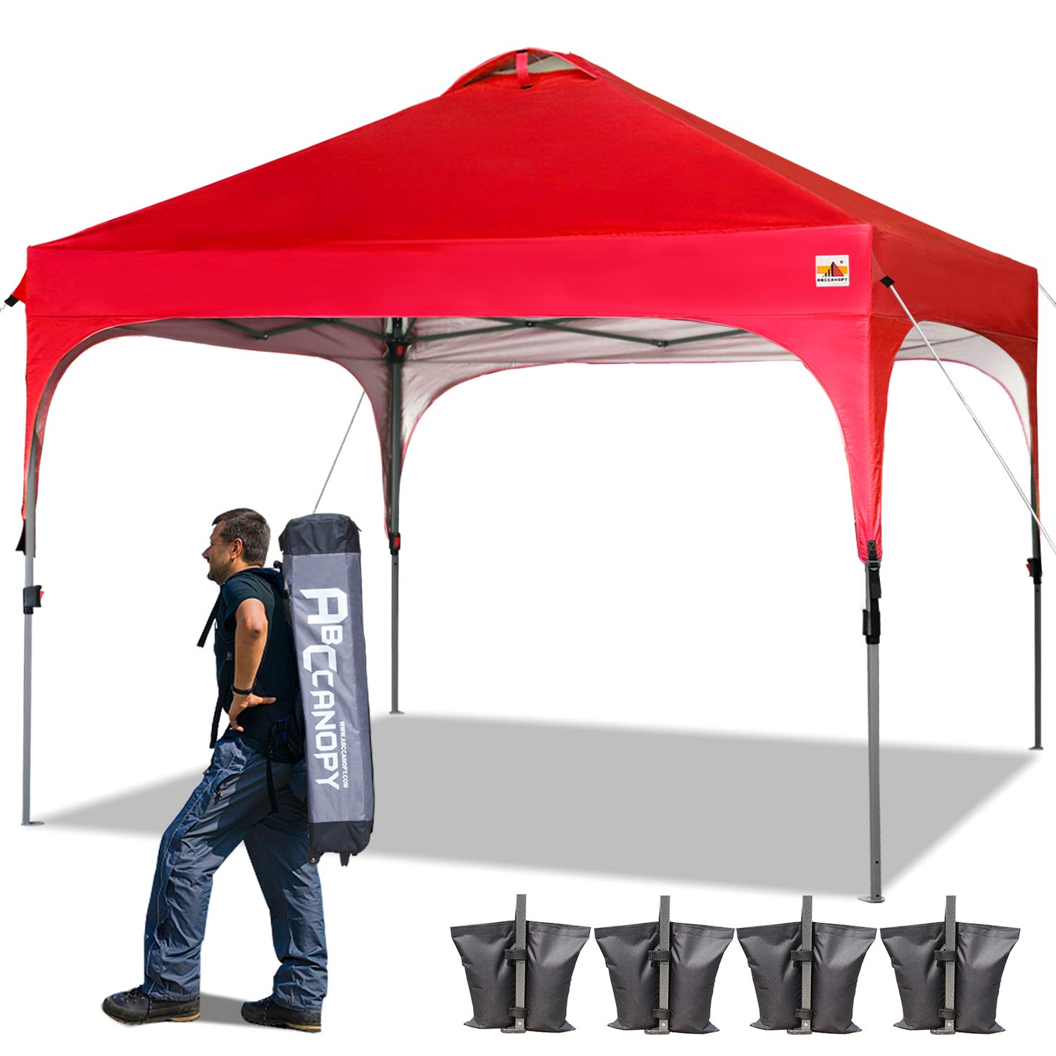 ABCCANOPY 10 x 10 Pop-Up Canopy Tent Beach Canopy Instant Shelter Tents Canopy Popup Outdoor Portable Shade with Wheeled Carry Bag Bonus Extra 4 x Weight Bags, 4 x Ropes& 4 x Stakes, Red