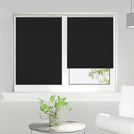 Tende A Rullo Oscuranti.Tenda A Rullo Oscurante Per Finestra Rullo Oscuranti Termica Montabile Senza Viti 45x150cm Nero