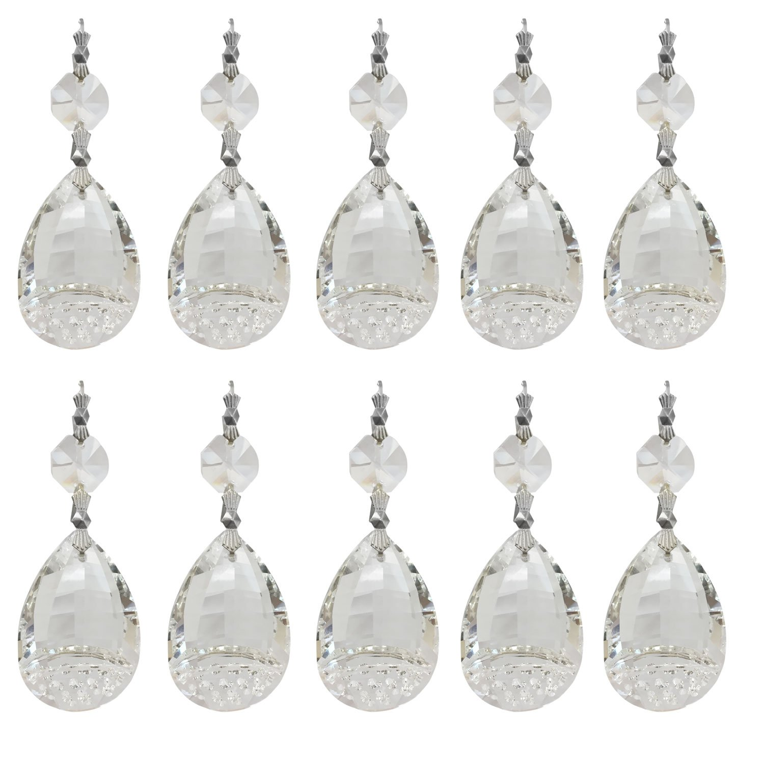 Royal Designs Replacement Chandelier Crystal Prism Clear K9 Quality Variegated Tear Drop Prism with Chrome Connectors and an Octogan Crystal Bead Pack of 10 by Royal Designs, Inc