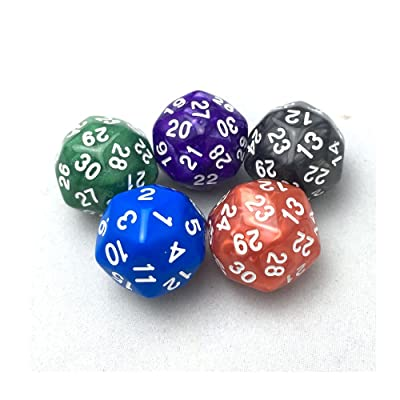 SmartDealsPro 5-Pack of Random Color D30 Polyhedral Dice for DND RPG MTG Table Games with Free Pouch: Toys & Games