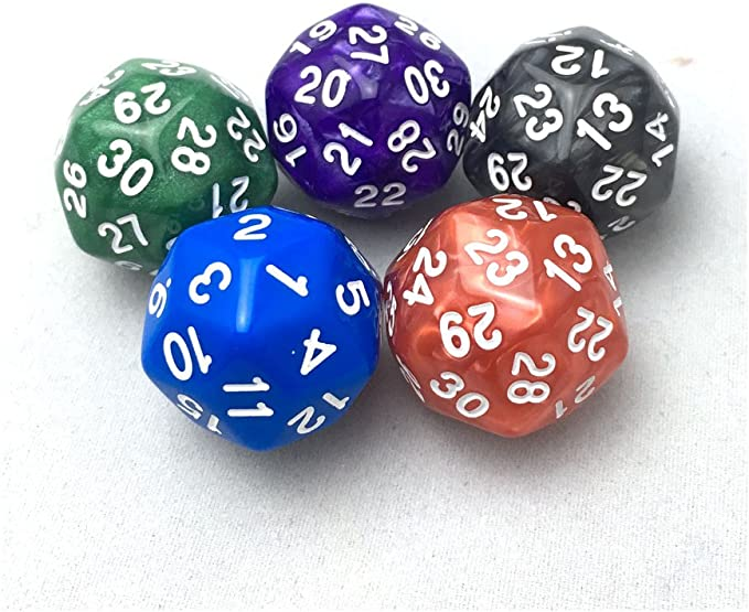 1pc D30 gaming dice thirty sided die number 1-30 5 Colors Acrylic Cubes DiceHGU