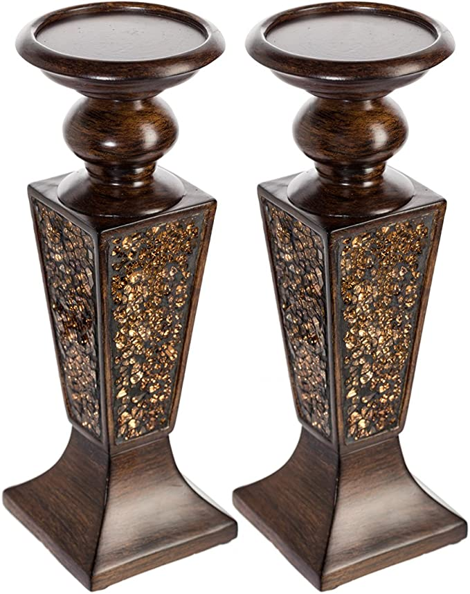 G-mart Decorative Candle Holder Set of 3 Home Decor Pillar Candle Stand,Coffee Table Mantle Decor Centerpieces for Fireplace 16.5 Living or Dining Room Table: 14.5 H 18.8 H