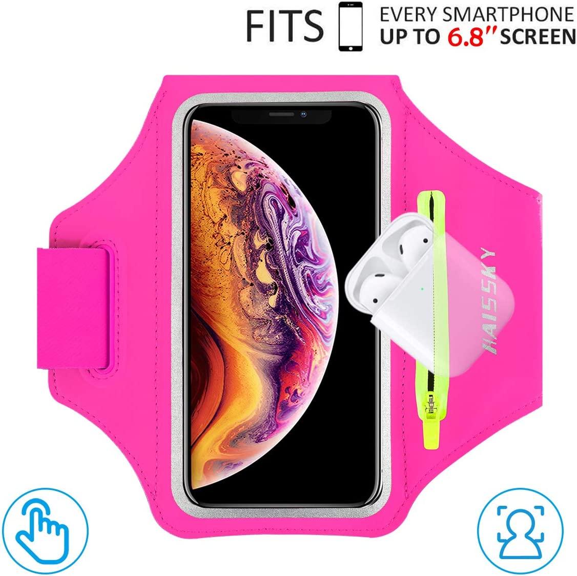 """HAISSKY Armband Case with Airpods Holder/Car Key Bag Cell Phone Holder Gym Case Fits iPhone 11 Pro Max/11 Pro/Xs Max/XR 8 7 6,Galaxy S10+/S10/S10e/S9+ with Key Holder&Card Slot up to 6.8"""" (Rose)"""