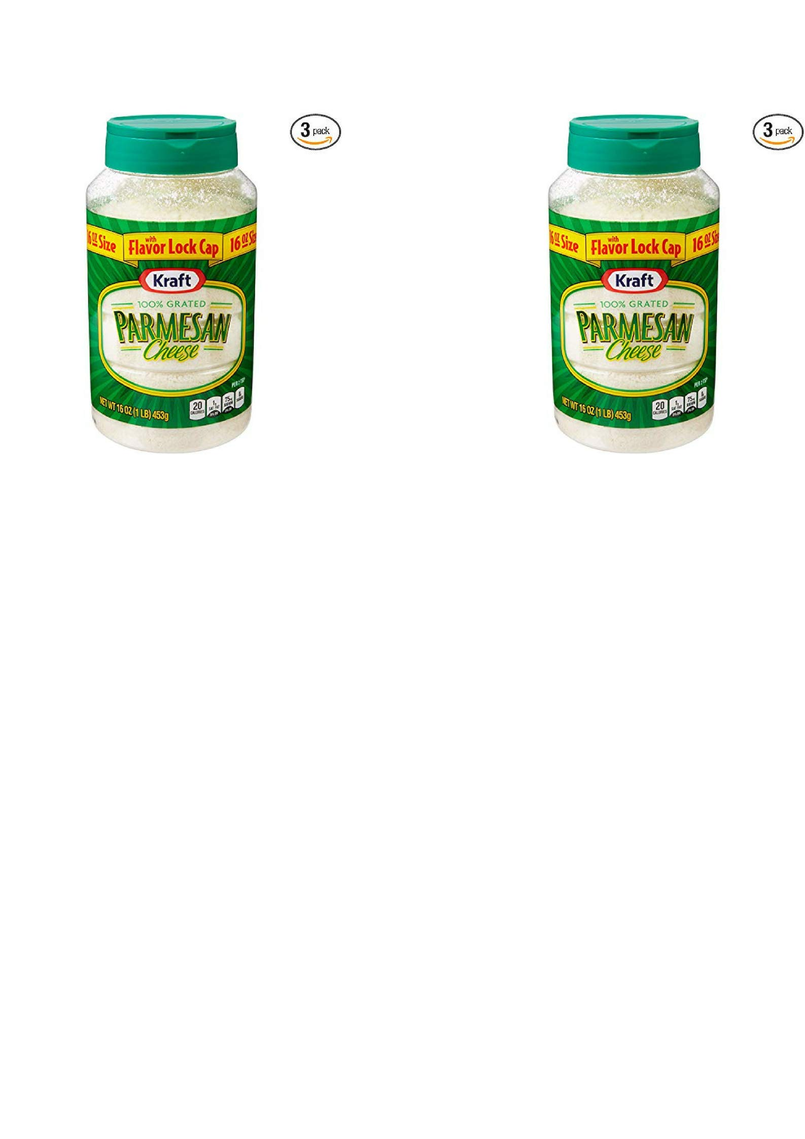 Kraft Parmesan Cheese 100% Grated 16-ounce Plastic Canister (Pack of 2) by Kraft