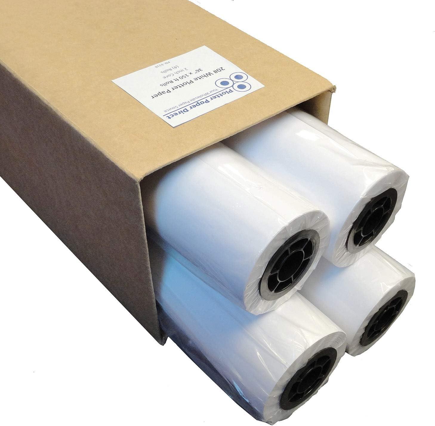 Plotter Paper 36 x 150: Caja de rollos de 4 – 36 x 150 pies, 20 lb. Papel de unión en núcleo de 2 pulgadas. Para impresión CAD en impresoras de chorro