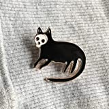 Yesiidor Cartoon Cat Skull Brooch Pin Enamel Brooch Pin Creative Lovely Clothes Bags Backpacks Lapel Pin Denim Jacket Badge Accessories