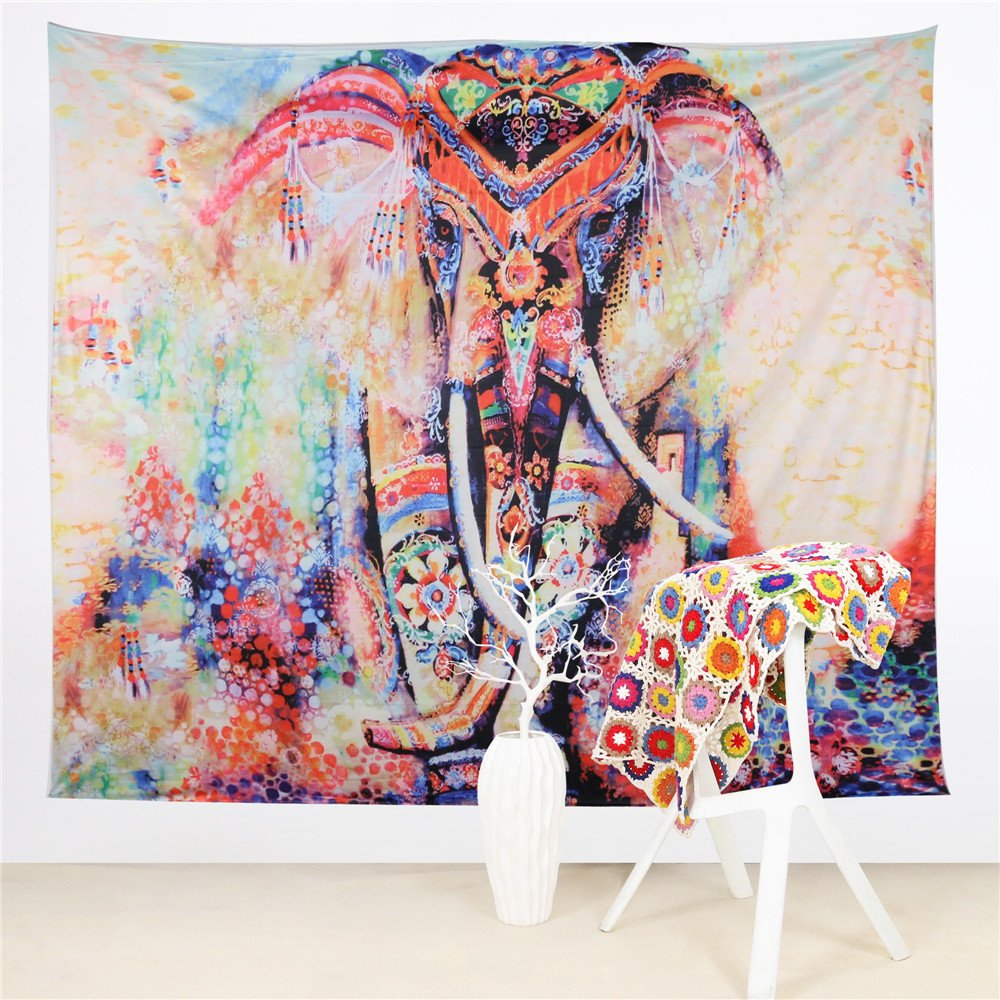 Vertical, 51 X 59 Inches Sleepwish Watercolor Elephant Tapestry Psychedelic Bohemian Tapestries Wall Hanging Decor Indian Home Hippie Bohemian Tapestry for Dorms
