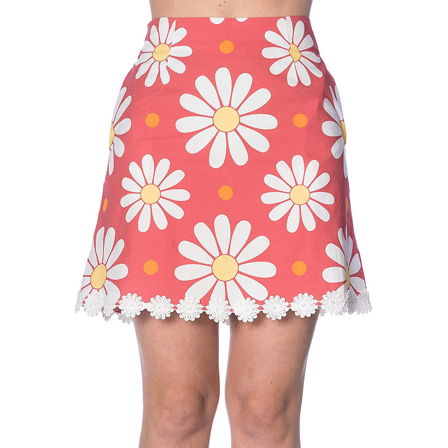 Retro Skirts: Vintage, Pencil, Circle, & Plus Sizes Banned Womens Crazy Daisy Mini Skirt (Coral) $26.72 AT vintagedancer.com