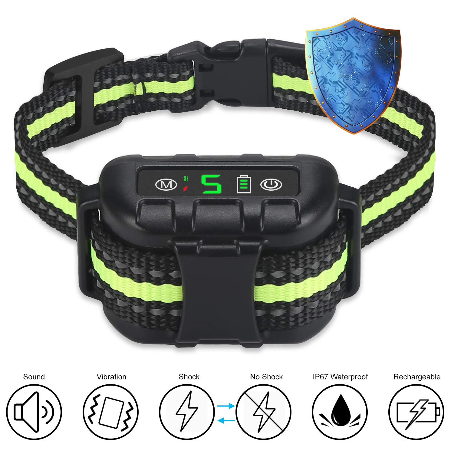 Nycetek Dog Bark Collar, Smart Triggering Dog Training Collar Bark Control Devices for 8lbs-120lbs Dogs, Rechargeable Anti Bark Collar with Adjustable Collar Size and 2 Training Modes Black Green
