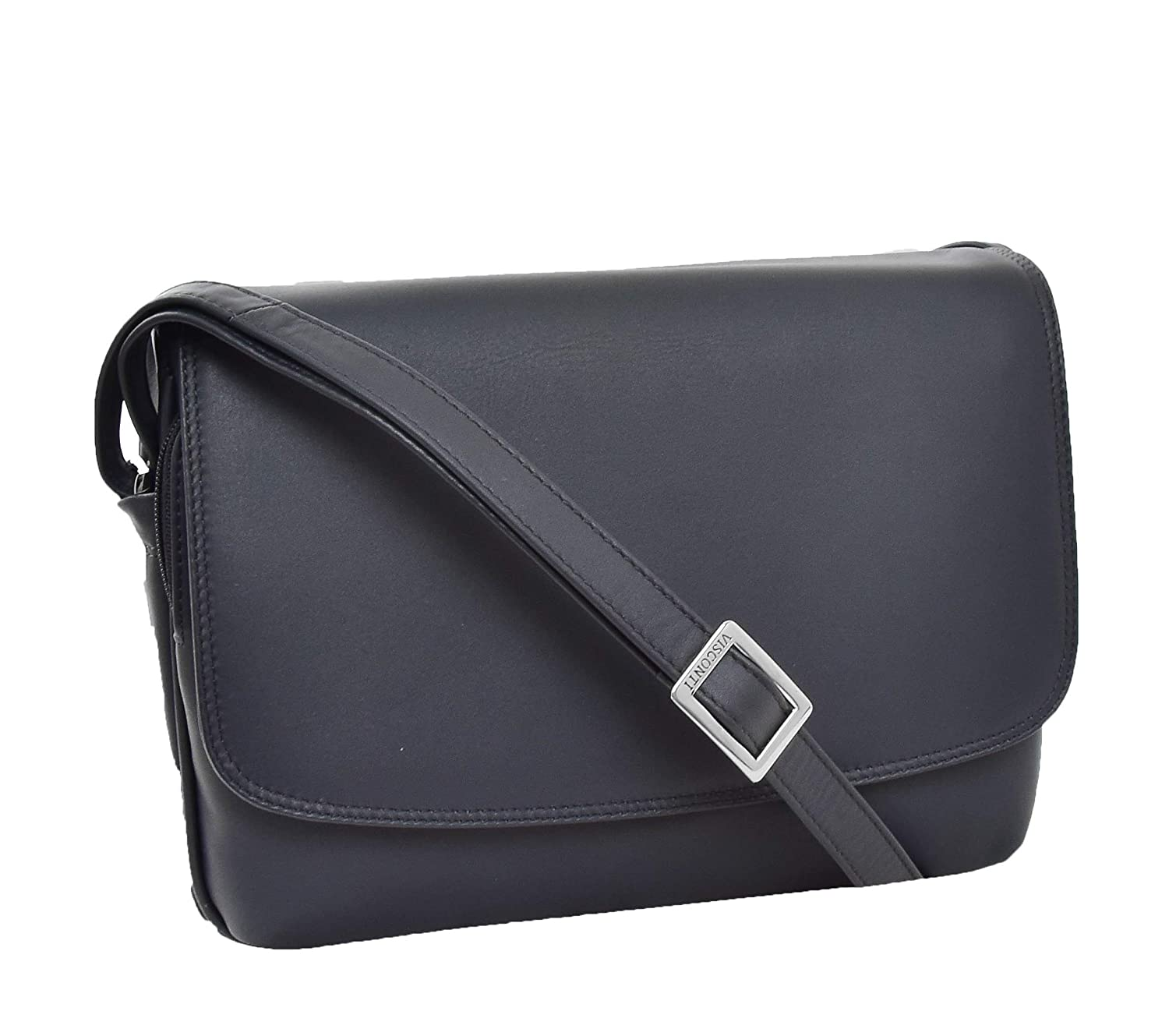 - A1 FASHION GOODS Ladies Navy Leather Shoulder Bag Everyday Classic Casual Flap Over Handbag A190