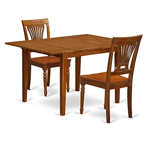 MLPL3-SBR-W 3 Pc Milan Kitchen Table featuring Leaf and 2 Wood Dinette Chairs in Saddle Brown .