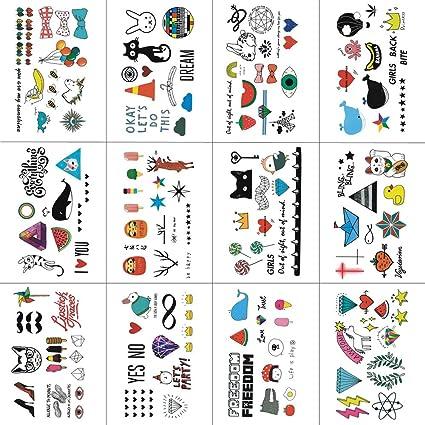 Lote de tatuajes temporales de WYUEN, diseño de dibujos de animales, modernos y resistentes