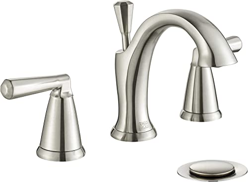 ENZO RODI 8 inch Widespread Bathroom Faucet Brushed Nickel, Two-Handle 3 Holes Bathroom Sink Faucets with Lift Pop Up Drain Assembly, ERF2212254AP-10