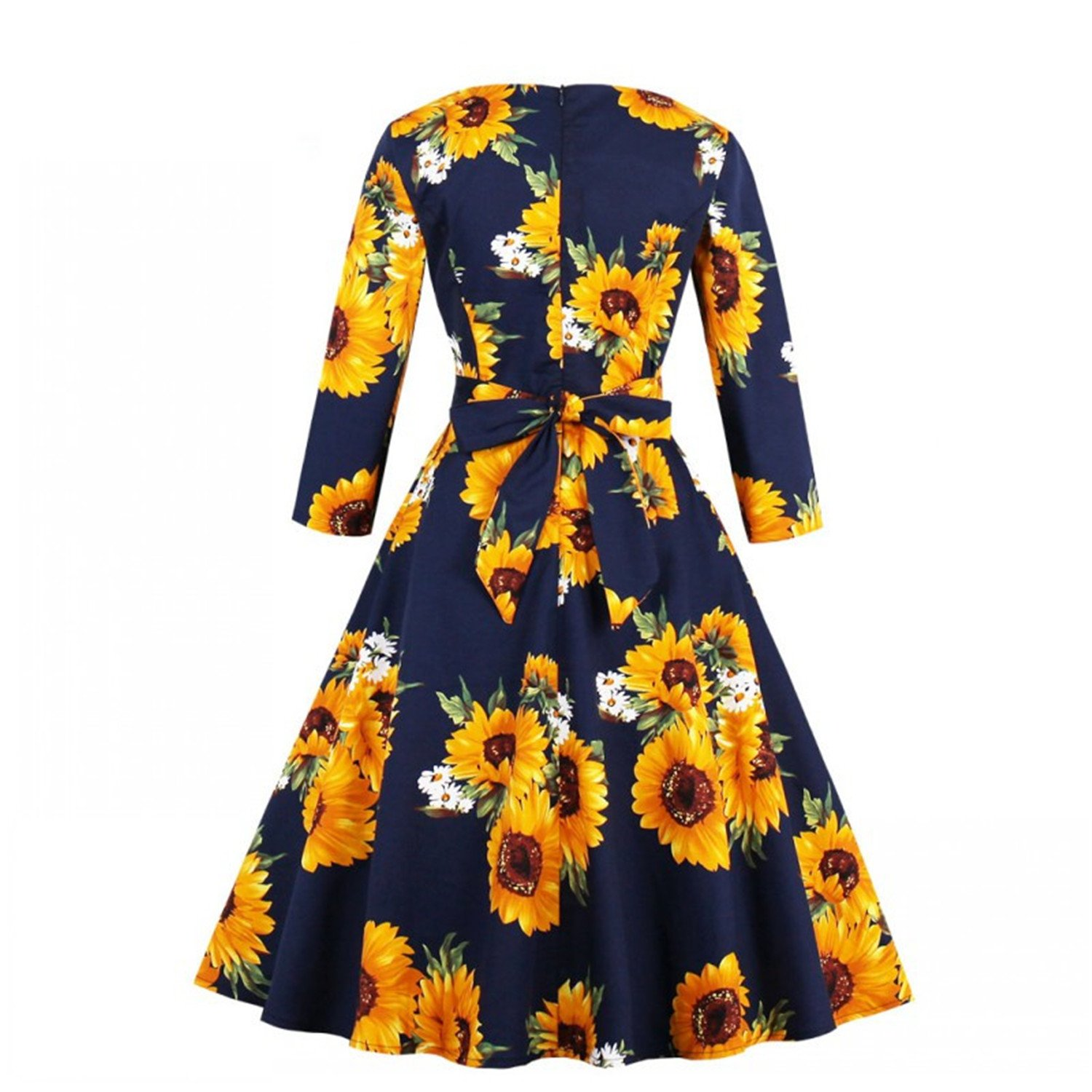 Desirca Winter Dress Plus Size Women Vintage Dress 50S 60S Floral Print 3/4 Sleeve Retro Mid Dresses at Amazon Womens Clothing store: