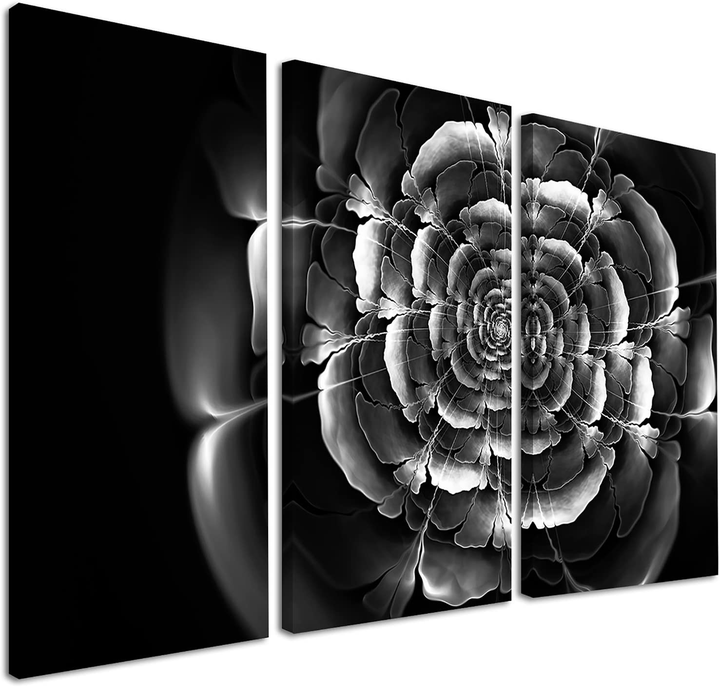 Amazon Com Designart Fractal Silver Rose In Dark Floral Large Abstract Canvas Art Print 36x28in Multipanel 3 Piece 36x28 3 Panels Black Home Kitchen