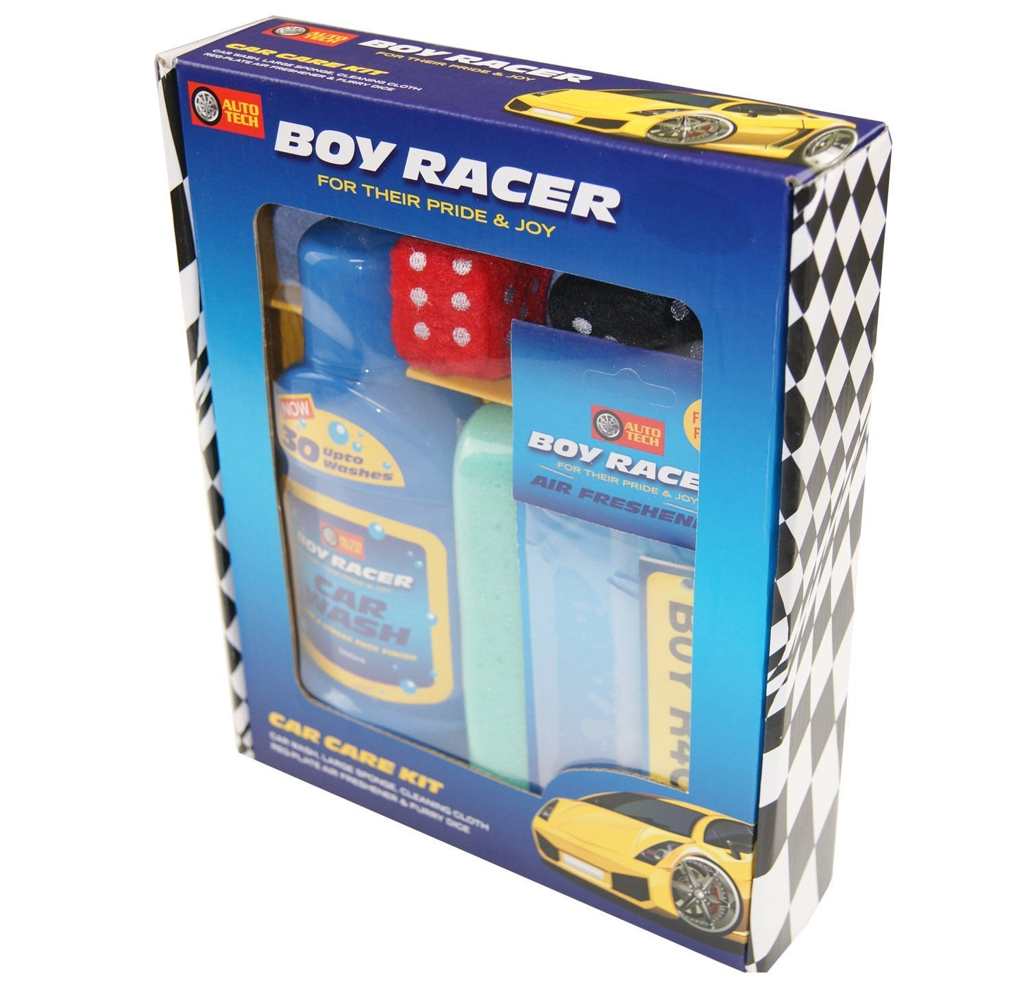 Boy Racer Blue Car Care Wash Kit Furry Dice Driving Test Dad Brother Xmas Gift Auto-Tech
