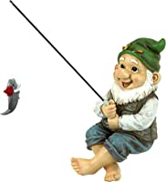 Garden Gnome Statue - Ziggy the Fishing Gnome Sitter - Outdoor Garden Gnomes - Funny Lawn Gnome Statues