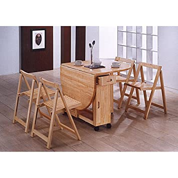 Astonishing Worldstores Butterfly Drop Leaf Dining Table With 4 Chairs 4 Seater Dining Set Folding Dining Table 4 Folding Dining Chairs Golden Oak Finish Alphanode Cool Chair Designs And Ideas Alphanodeonline