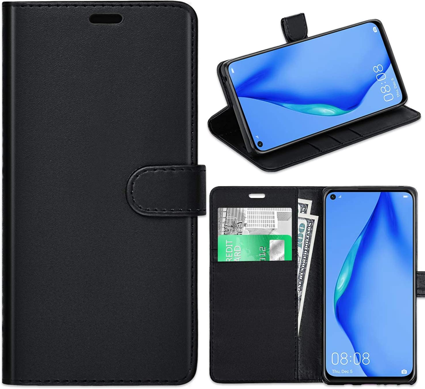 Book Wallet Case Phone Case Phone Cover for Huawei P40 Magnetic Flip Wallet Case for Huawei P40 Credit Card Holder Black AROYI Huawei P40 Case PU Leather Protection Stand Function